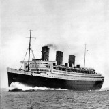 Photograph of the RMS 'Queen Mary' on Sea Trials  Prior to Her Maiden Voyage  May 1936