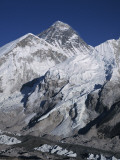 View of Mount Everest and Khumbu Glacier Covered in Snow