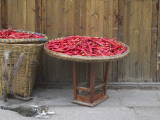 China  Sichuan Province  Drying Red Pepper in Basket
