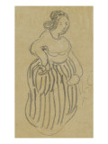 Femme vêtue d'une robe rayée