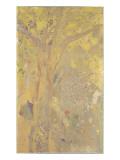 Décoration Domecy : arbres  fond jaune