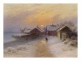 Village de pêcheur au crépuscule  Norvège1904