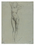 Figure of a Naked Woman Standing  Hands Behind Head