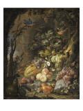 Fleurs  fruits  oiseaux et insectes dans un paysage avec ruines