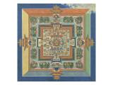 Mandala du livre ; Bahaishajyaguru et les sept autres Buddha de médecine Giclée