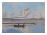 Marine: Boat Green in the Foreground with Two Figures