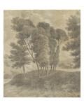 Paysage avec  au centre  un groupe d'arbres