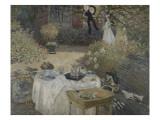 Le déjeuner ; panneau décoratif  jardin de Monet à Argenteuil  à gauche son fils Jean