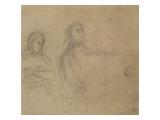Homme assis devant un piano  une femme à ses côtés; étude pour George Sand et Chopin