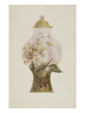 Model Covered Earthenware Vase Decorated with Phlox