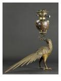 Lampe à pétrole soutenue par un faisan