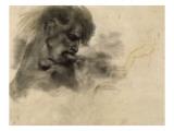 """Homme nu  en buste  de profil à droite  mordant et s'agrippant; étude pour """"La Barque de Dante"""""""