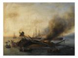 Combat naval entre une division française et anglaise en vue de l'île de la