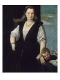 Portrait de femme avec un enfant et un chien (les enfants de Francesco Bevilacqua )