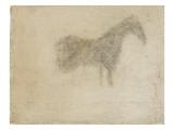 Silhouette d'un cheval  de profil à droite