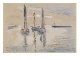Trois barques à voiles à l'abri d'une jetée