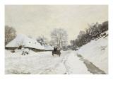 La Charrette Route sous la neige à Honfleur  avec la ferme Saint Siméon