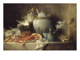 Vase, homard, fruits et gibier Giclée par Anne Vallayer-coster