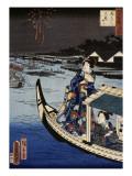 Femme dans une barque durant une fête