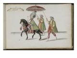 """Album ; Ballet de la Douairière de Billebahaut ; """"Entrée du Grand Seigneur""""; deux figures debout"""