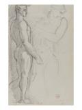 Etude d'homme de profil debout sur le pied droit d'après l'antique  étude de femme demi-nue bras