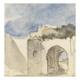 Vue d'une porte de ville arabe