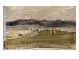Album d'Angleterre Paysage dans la campagne anglaise  avec vaches dans un champ 8/9 juillet 1825
