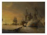 """Combat naval entre le vaisseau français """"l'Intrépide"""" commandé par le comte de Vaudreuil"""