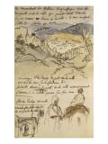 Album du Maroc: En haut  vue des remparts et de la ville de Tanger  la mer vers la gauche et fond