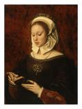 Jeune femme lisant un livre d'heures