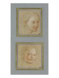 Tête de jeune fille  vue de trois quarts vers droite ; Tête d'enfant  vue presque de trois quarts
