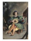 Jeune guitariste en costume italien de la Renaissance