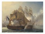 Combat du vaisseaux français le Romulus contre trois vaisseaux anglais à l'entrée de la rade de