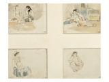 """Quatre dessins; études pour """"Les Femmes d'Alger"""" ; deux femmes arabes assises;femme arabe assise"""