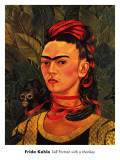 Self-Portrait with Monkey, c.1940 Reproduction d'art par Frida Kahlo