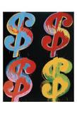 Four Dollar Signs, c.1982 (blue, red, orange, yellow) - 4 symboles du dollar, 1982 (blue, rouge, orange, jaune) Reproduction d'art par Andy Warhol