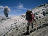 Johan Reinhard Nears the Summit of Erupting Nevado Ampato Volcano