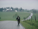An 81 Year Old Amish Man Walks to the Amish Church on Sunday Morning