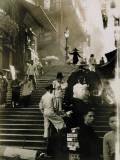 Vendors and Pedestrians Along a Steep Staircase