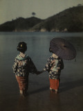 Modestly Attired Japanese Women Wade into Water to Bathe