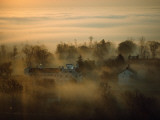 Morning Mist over the Restored Shaker Village at Pleasant Hill