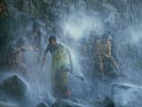 Pilgrims Bathe in the Narmada's 160-Foot-Tall Kadil Dhara Waterfall