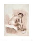 Nude Woman Sitting  Drying Her Right Foot