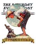 """Springtime  1935 boy with bunny"" Saturday Evening Post Cover  April 27 1935"