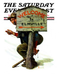 """Welcome to Elmville"" Saturday Evening Post Cover  April 20 1929"
