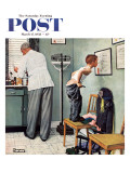 """Before the Shot"" or ""At the Doctor's"" Saturday Evening Post Cover  March 15 1958"