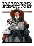 """Dog in Basket"" or ""Stowaway"" Saturday Evening Post Cover  May 15 1920"