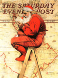 """""""Santa at the Map"""" Saturday Evening Post Cover, December 16,1939 Giclée par Norman Rockwell"""
