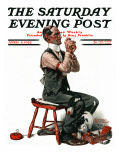 """""""Threading the Needle"""" Saturday Evening Post Cover  April 8 1922"""