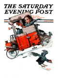 """Look Out Below"" or ""Downhill Daring"" Saturday Evening Post Cover  January 9 1926"